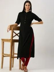 Formal Wear Straight Formal Rayon Kurti, Features: Collar Neck