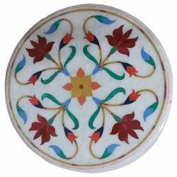 White Marble Coffee Table Top Semi Precious Inlay Home Decor