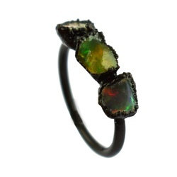 Rough Stone Fire Opal Gemstone Rings
