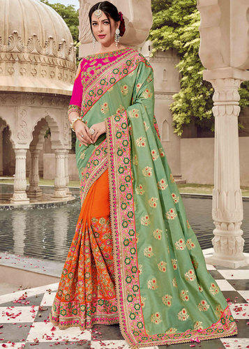 3ec682ef31 Silk Green And Orange Wedding Wear Bridal Saree, Rs 3812 /piece | ID ...