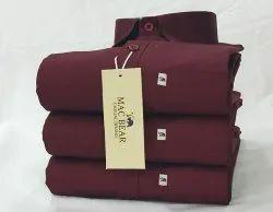 Semi-Formal Casual Wear Mac Bear Cotton Plain Shirt