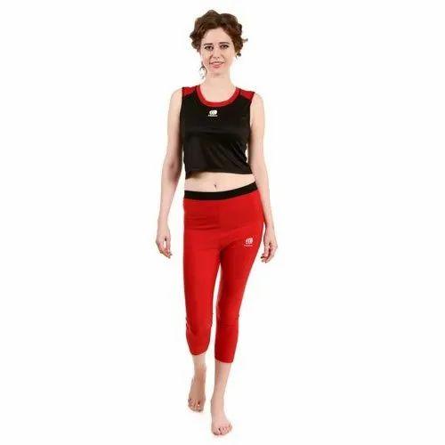 4 Way Lycra And Cotton Plain Ladies Sleeveless Sports Wear