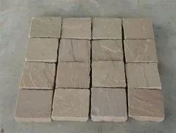 Outdoor Block Autumn Brown Sandstone Cobbles, for Landscaping
