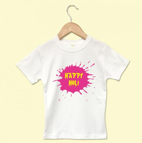 White Cotton Kids Holi Tshirt' s