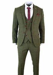 Mens 3 Piece Herringbone Tweed Olive Green