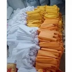 W Cut Orange and White Non Woven Grocery Bags, Capacity: 5-10 kg