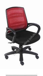 Low Back Black and Red Mesh Chair