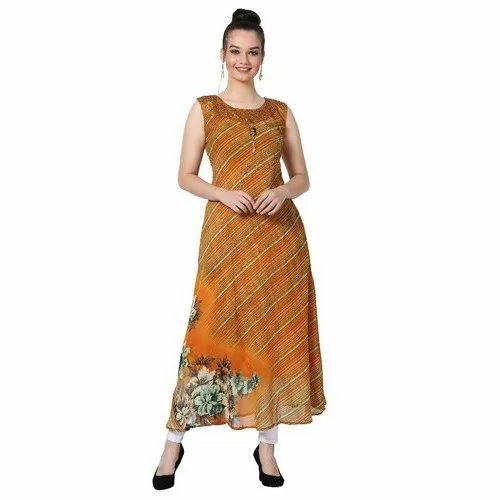LKAAAF-16  Sleeveless Georgette Ladies Kurti