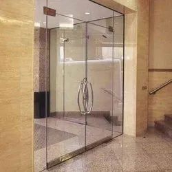 Hinged Plain Toughened Glass Door, For Office, Thickness: 12 Mm