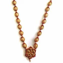 Golden Base Gold Plated Kundan Necklace