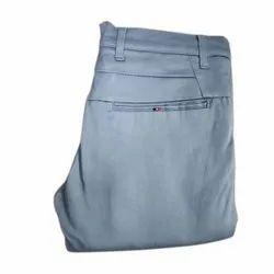Slim Fit Blue Mens Plain Formal Cotton Trouser, Size: 28-36 Inches