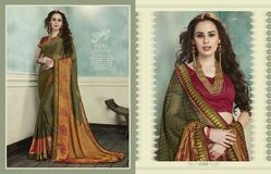Occasions Green Colour Pleasing Printed Saree Wear