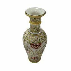 Polished Round Antique Design Marble Vase for Decoration