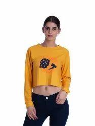 Women Printed Crop Sweatshirt