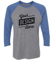 Cotton Men Custom Raglan Round Neck T Shirt