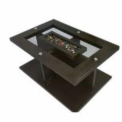 Black Wooden Glass Tea Table