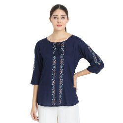 Ladies Plain Embroidered Top