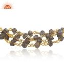 Natural Labradorite Beaded Gemstone Designer Gold Plated Silver Bracelet Jewelry