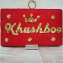 Red Bridal Name Clutch