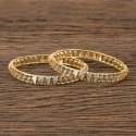 White Cz Two Tone Plated Classic Bangles 405985
