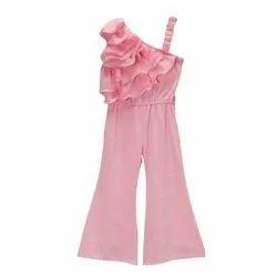 Kids Ruffle Frill Baby Pink Long Jumpsuit