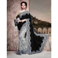 The RCPC Designer Fash Velvet Black Saree