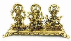 Laxmi Ganesh Saraswati Golden Plated