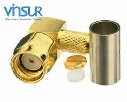 RF Connector -  RP SMA Male, Right Angle, Crimp Type, RG58 Cable