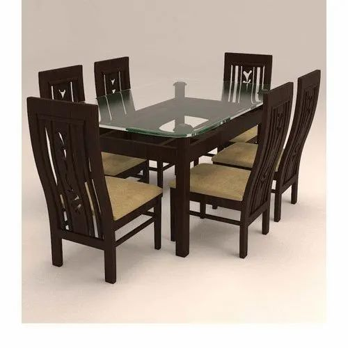 Brown Modern 6 Seater Dining Table Set