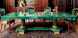 Malachite Dining Table With Brass Overlay