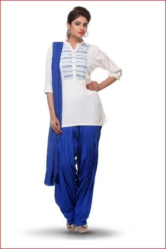 ebcbc00ddf Embroidered Cotton Punjabi Suit In White, सूती कढ़ाईदार ...