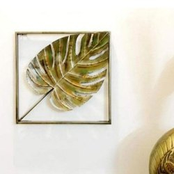 Golden Decoration W Jabar Leave Wall Decor Frame, Size: 18X1X18 Inches