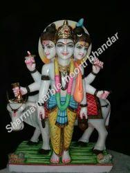 White Marble Dattatreya sculpture