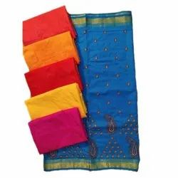 Party Wear Designer Cotton Embroidery Saree, 6.3 m (with blouse piece)