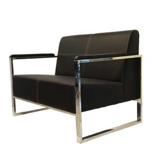 Exceptionnel Plain Black Leather Office Sofa