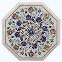 Table Top White Marble Handmade Gemstone