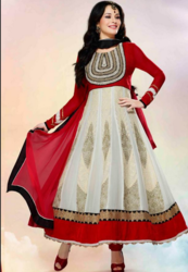 Red And White Ladies Designer Churidar
