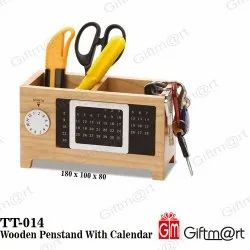 Wooden Penstand with Calendar for Home & Office
