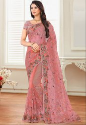 Old Rose Embroidered Net Saree