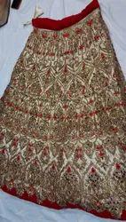 Semi-Stitched Red And Golden Heavy Bridal Lehenga Choli