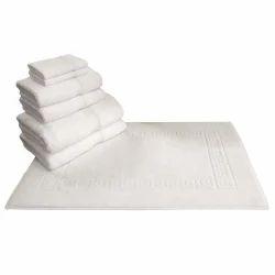 Cotton Hotel White Terry Mat Towel (ALBEDO), Size: 20
