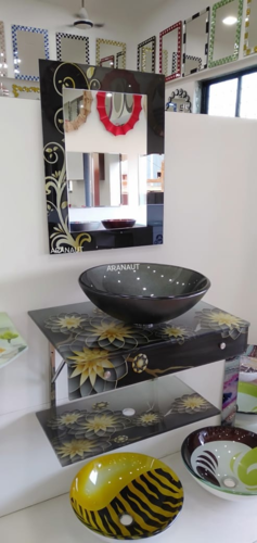 Aranaut Glass Lip Bowl Vanity, 21 X 24 Inches Full Set, for Bathroom