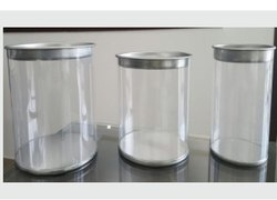 Plain PVC Container Cylindrical for Dry Fruits, Nuts with Metal Lid