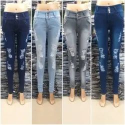 Stretchable Slim Women Ripped Jeans, Waist Size: 28-36