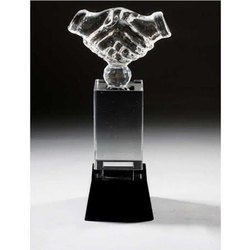 Hand Shake Black Crystal Trophy