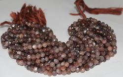 Chocolate Brown Moonstone Round Faceted Beads