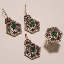 Copper Turkish Designer Ring Pendants Set