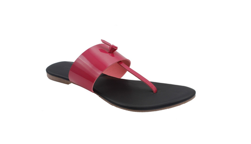 4ff9a2eecb6e Foot Wagon Pink Black Leather Flats Classy Ladies Slippers