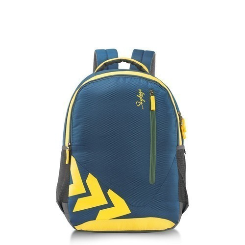 Polyester Blue   Yellow Skybag School Backpack