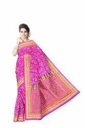All Over Pink Color Fancy Design  Banarasi Georgette Saree